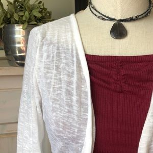 White layering top, cardigan style